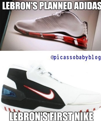 54e62ecbfac1b Lebron James First Adidas Vs. First Nike Sneaker