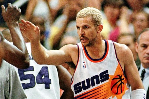 Phoenix Suns guard Jason Kidd is congratulated by